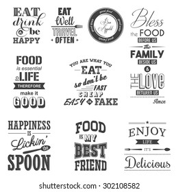 Set of vintage food typographic quotes. Vector EPS8 illustration.