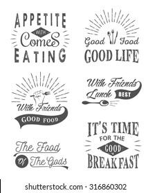 Set of vintage food typographic quotes. Vector illustration. Vintage food related typographic quotes
