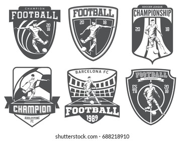Set of vintage football emblems, badges and icons isolated on white background. Soccer players.