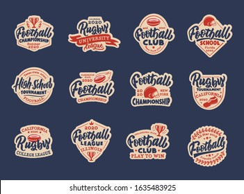 Set of vintage Football stickers, patches. Sport colorful badges, templates, emblems, stamps for Football club, school. Collection of retro logos with hand-drawn text, phrases. Vector illustration