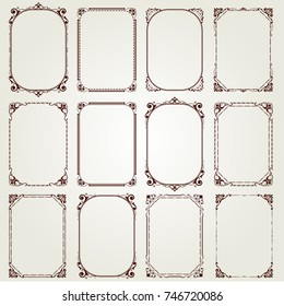 set of vintage frame with beautiful filigree, vector illustration