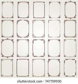 set of vintage frame with beautiful filigree, vector illustration