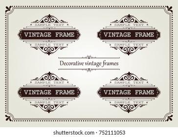 set of vintage frame with beautiful filigree, decorative border, vector illustration