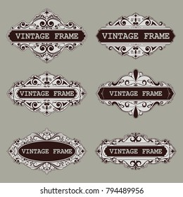 set of vintage frame with beautiful filigree, decorative border, luxury greeting cards,vector illustration
