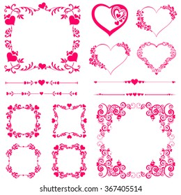 Set of Vintage frame. Celebration background with heart and place for your text. Vector Illustration