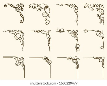 Set of vintage frame corners isolated on a white background. Vector illustration.