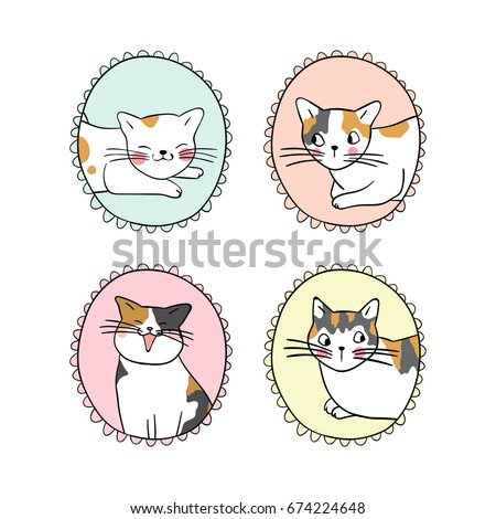 Set Vintage Frame Cute Cat Draw Doodle Stock Vector (Royalty Free ...