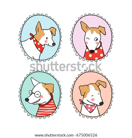 Set Vintage Frame Cute Dog Draw Doodle Stock Vector Royalty Free