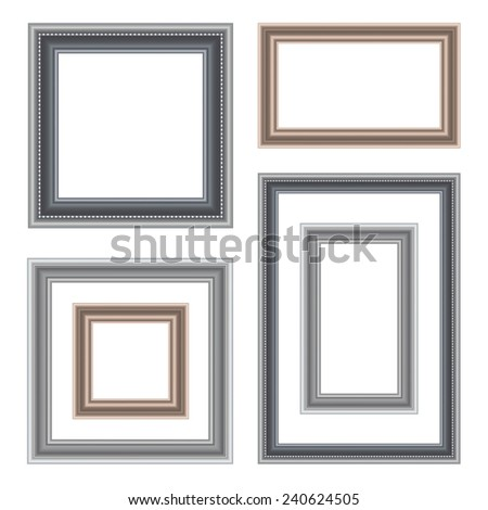 Set Vintage Frame Isolated On White Stock Vector (Royalty Free ...
