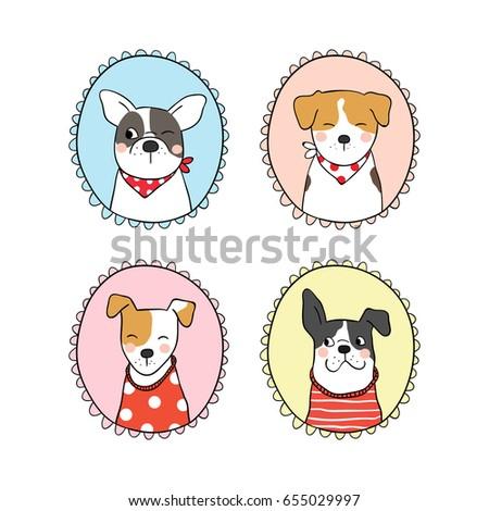 Set Vintage Frame Outline Cute Dog Draw Stock Vector Royalty Free