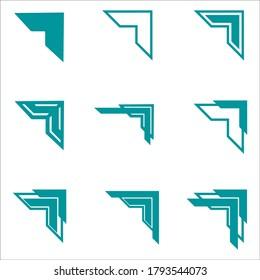 Set of vintage frames with beautiful filigree, decorative borders, vector illustration, Vector illustration of decorative corner frame set