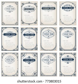 set of vintage frames with beautiful filigree,ornamental border, vector illustration