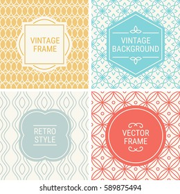 Set of vintage frames in Gold, Cyan, Grey, Red and Beige on mono line seamless background. Perfect for greeting cards, wedding invitations, retro parties. Vector labels and badges