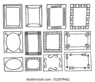 Set of vintage frames hand-drawn. Vector illustration for decoration greetings, invitations, celebrations, wedding cards and other design.