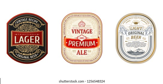 Set of Vintage frames for labels. Gold stickers and logos. Design emblems, premium quality. Vector stickers for drinks beer bottles and cans. Template place for text. Flourishes advertising banner