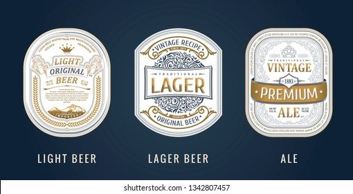 Set of Vintage frames for labels. Gold stickers and logos. Design emblems, premium quality. Vector sticker for drinks beer bottles and cans. Template place for text. Flourishes advertising banner