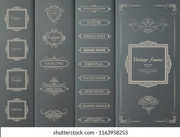 A set of vintage frames and patterned weave for decorating text blocks. Decorative elements on gray cardboard for decoration of title in vector. Wicker lines and business text blocks
