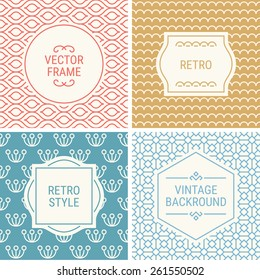 Set of vintage frames in Red, Gold, Blue, Light Blue and Beige on mono line seamless background. Perfect for greeting cards, wedding invitations, retro parties. Vector labels and badges