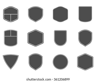 Set of vintage frames, shapes and forms for logo, labels, insignias with lines. Use for travel, camping or other emblems. Vector logotype sillhouette design