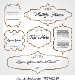 Set of vintage frames template vector