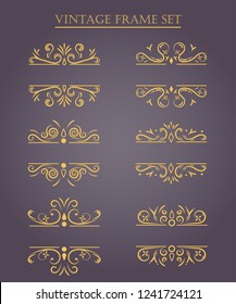 Set of vintage frames. Vector Illustration.