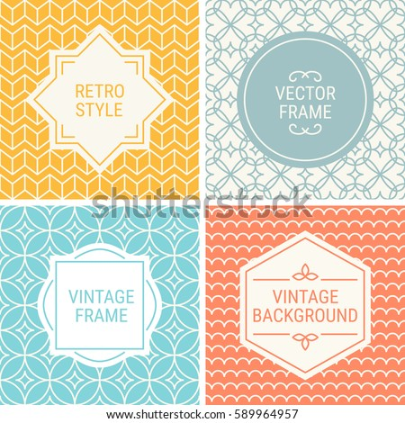 Set Vintage Frames Yellow Grey Cyan Stock Vector Royalty Free