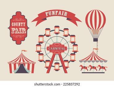 Set of vintage funfair symbols. EPS10 vector flag design.