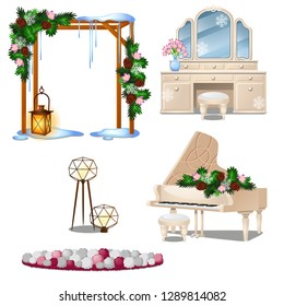 Set of vintage furniture interior items isolated on white background. Vector cartoon close-up illustration.