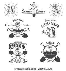 Set of vintage garden center emblems, labels, badges, logos and designed elements. Monochrome style