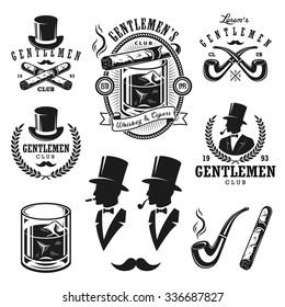 Set of vintage gentleman emblems, labels, badges and designed elements. Monochrome style