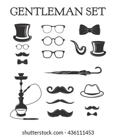Set of vintage gentleman set. hookah, smoking pipe, top hat,eyeglasses, bow tie, umrella, mustache, smoke. Father's day set. Fashion vintage retro old hipster style.