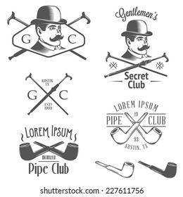 Set of vintage gentlemen club design elements