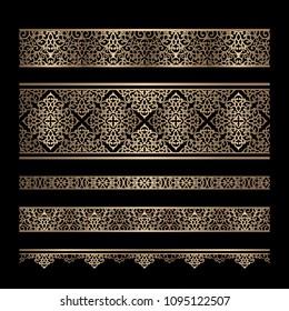 Set of vintage gold border patterns, swirly vector golden ornaments on black