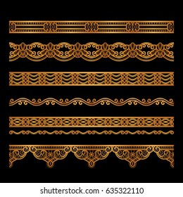 Set of vintage gold borders, golden edge decoration, ornamental vector dividers on black