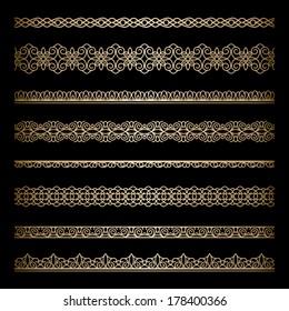 Set of vintage gold ornamental borders, decorative vector lines on black