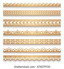 Set of vintage gold ornamental borders, lace ribbons, decorative vector lines on white, eps10