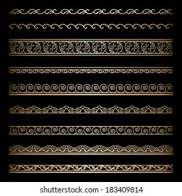 Set of vintage gold wavy ornamental borders, decorative vector lines on black
