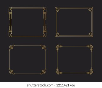 Set of vintage golden borders. Gold rectangular hand drawn swirl frames. Vector isolated flourish design elements.