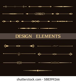 Set of vintage golden dividers. Vector elements for your design on black background. Calligraphic design elements and page decoration