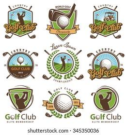 Set von Vintage-Golf-Emblemen, Etiketten, Abzeichen und Logos.