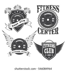 Set of vintage gym crossfit and fitness club logo on white background. Vector illustration.