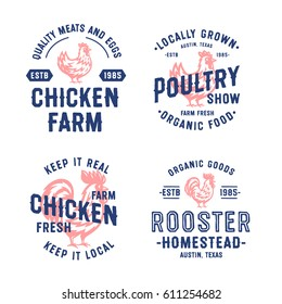 Set of Vintage Hand Drawn Chicken and Rooster Badges, Emblems and Logos. Attractive Designs for Farmer's Market, Homestead, Poultry Farm, Fair, Restaurant and other. Cock and Hen Vector Illustration.