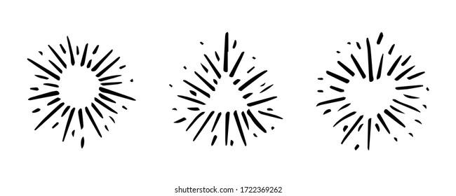 Set Vintage Hand Drawn Design Element Fireworks Black Rays. Vector.