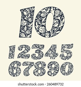 Set of vintage hand drawn numbers. Vector.
