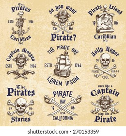 Set of vintage hand drawn pirates designed emblems, labels, logos and designed elements. Isolated with a scratched background. Doodle style. Proverbs. Layered.