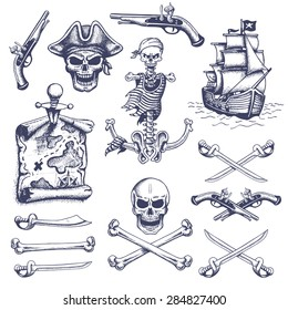 Set of vintage hand drawn pirates designed elements. Isolated. Doodle style. Proverbs. Layered.