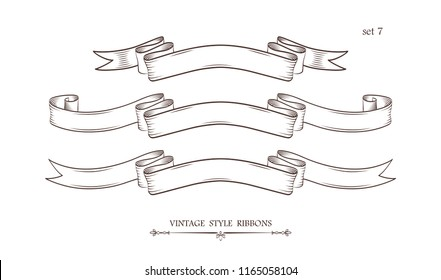 Set of vintage hand drawn ribbons. Collection of retro labels, banners and logo elements. Logotype design. Vector illustration.