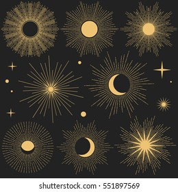 Set of vintage hand drawn shiny cosmic objects on dark background. Editable design elements.