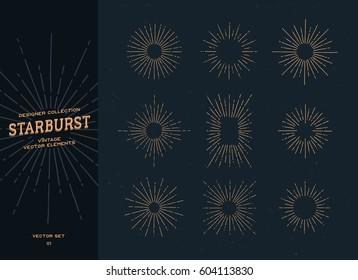 Set of vintage hand drawn starburst on dark background. Sunbursts, sunrays. Design elements.