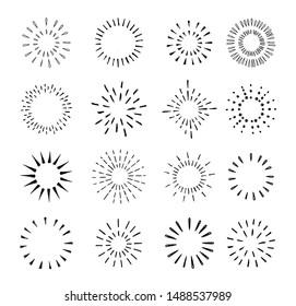 Set of vintage hand drawn sunburst rays design elements, explosion, fireworks black rays, vector illustration.